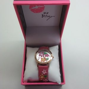 Betsey Johnson New Hot Pink Multi-Floral Watch